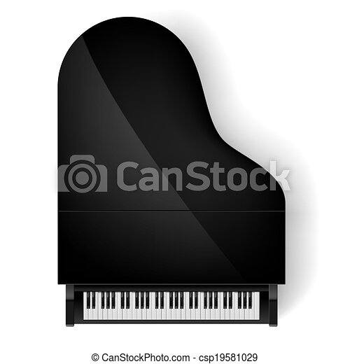 Piano in top view. Top view of black grand piano on white ...