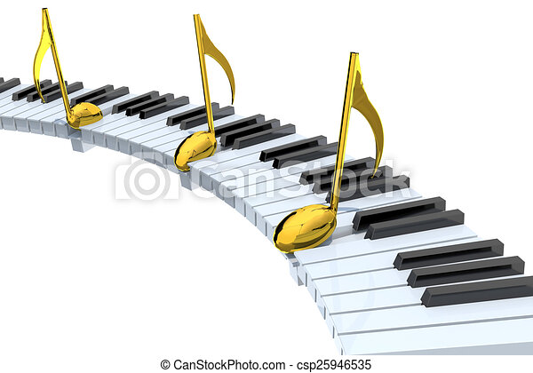 Piano Keyboard Abstract With Golden Musical Notes Isolated On White
