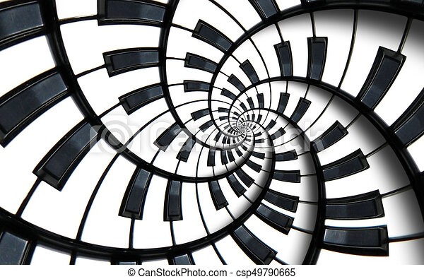 Piano Keyboard Printed Music Abstract Fractal Spiral Pattern Background Black And White Round