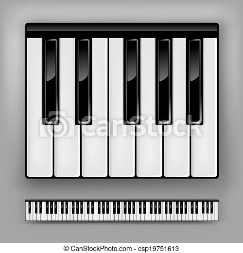 Piano Keyboard Vector One Octave Or Full 88 Keys