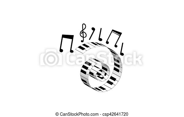 Piano Keyboard With Notes Symbol Of Music Vector Illustration