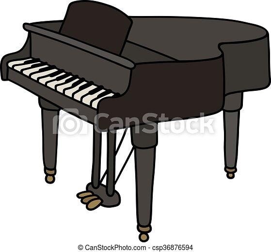 Dessin De Piano piano, noir, grandiose. classique, main, noir, piano queue, dessin.