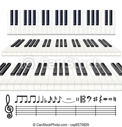Piano Notes Music Design Elements Vector Piano Keys Or Organ