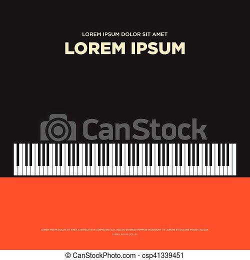 Piano Retro Vintage Poster Book Cover Background Flat Design
