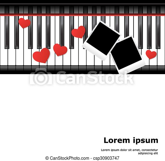 Piano template. Template with piano keyboard on white and white ...
