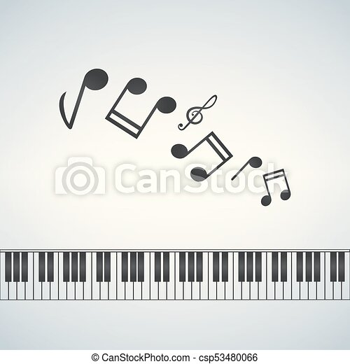 Piano template, music creative concept illustration with notes, vector.