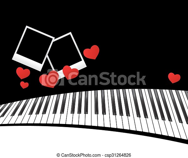 Piano template with hearts. Template with piano keyboard on ...