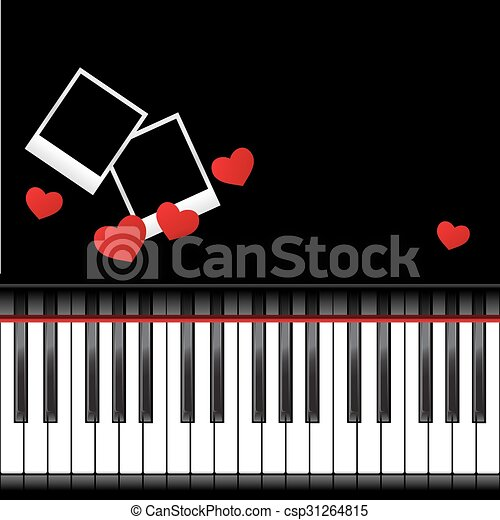 Piano template with hearts. Template with piano keyboard on white ...