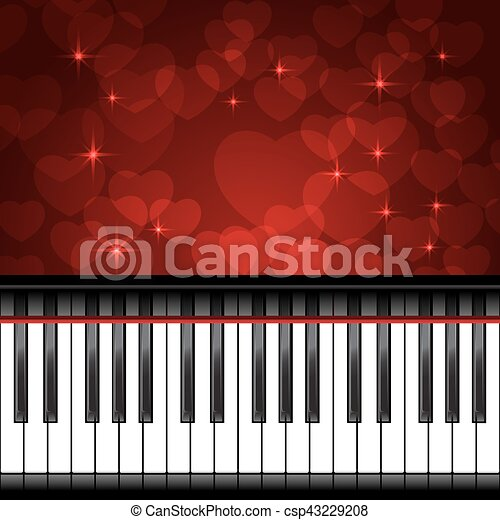 Piano template with hearts. Piano template with hearts, music ...