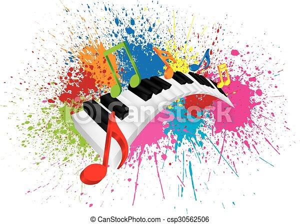 Piano Wavy Keyboard Paint Splatter Abstract Illustration - csp30562506