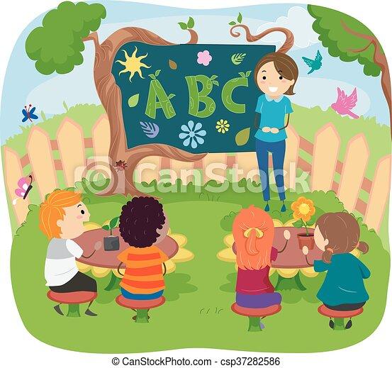 piante, bambini, stickman, classe - csp37282586