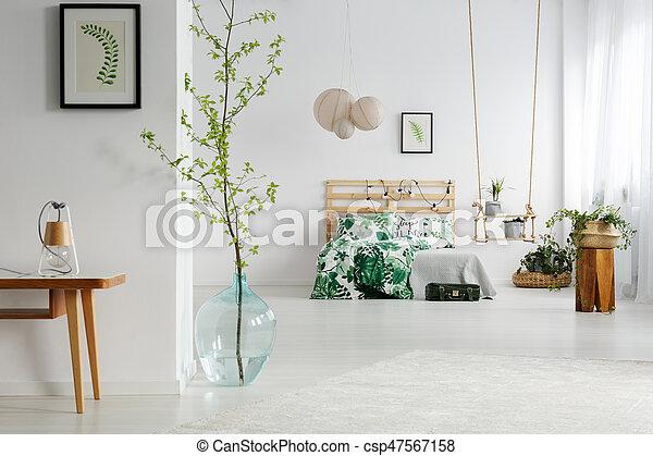 Piante bianco camera letto legno altalena letto verde