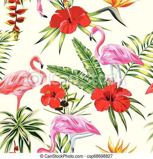 piante, fenicottero, ight, modello, seamless, giallo, tropicale, fondo, fiori, composizione - csp68698827