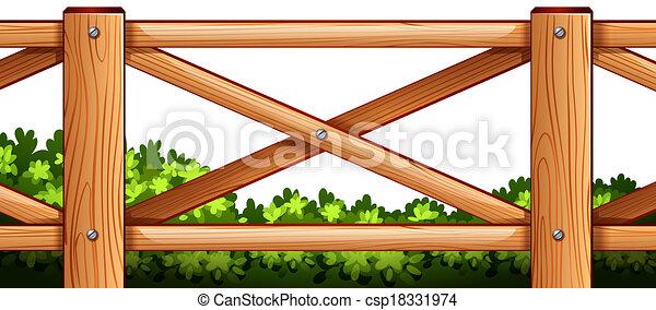 piante, legno, disegno, indietro, recinto - csp18331974