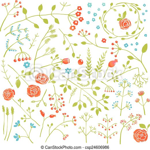 piante, scarabocchiare, collezione, decorazione, campo, floreale, fiori - csp24606986