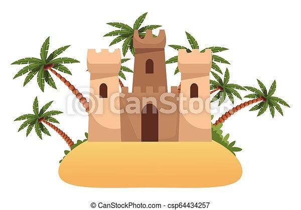piasek zamek, ikona - csp64434257