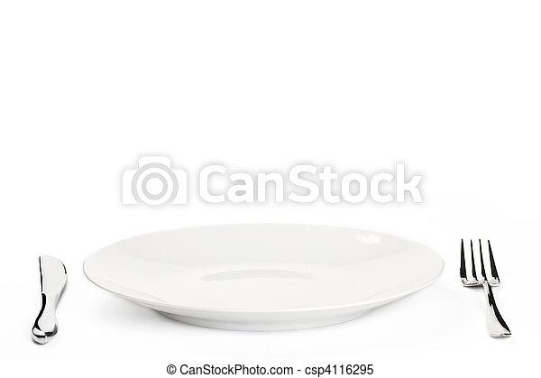piastra, bianco, coltelleria, fondo - csp4116295