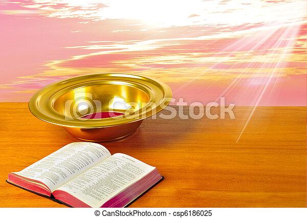 piastra, bibbia, offerta, luminoso, fondo, tavola - csp6186025