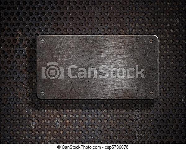 piastra, grunge, sopra, metallo, arrugginito, sfondo griglia - csp5736078