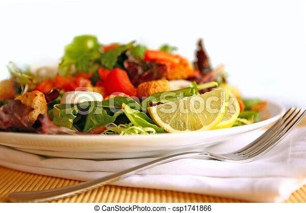 piastra, insalata, sano, alto, campo, profondità, delizioso - csp1741866