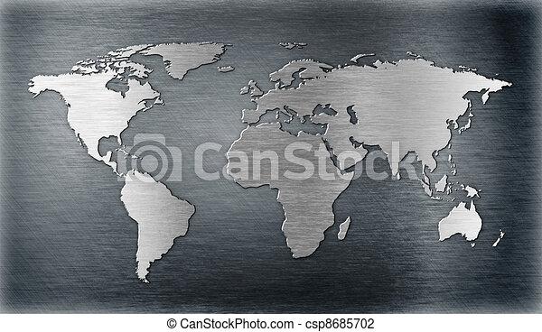 piastra, mappa, metallo, forma, sollievo, mondo, o - csp8685702