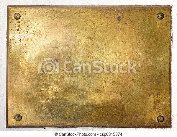 piastra, ottone, bordo, metallo, giallo - csp0315374