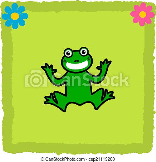 piastrella, fiori, rana verde - csp21113200