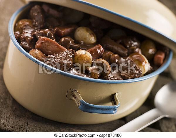 piatto, pietanza, bourguignonne, casseruola, manzo - csp1878486