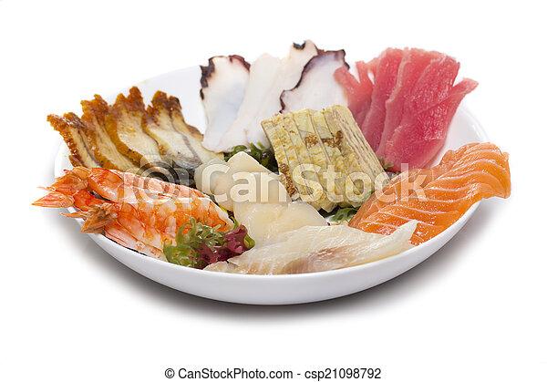 piatto, pietanza, fatto, sashimi - csp21098792