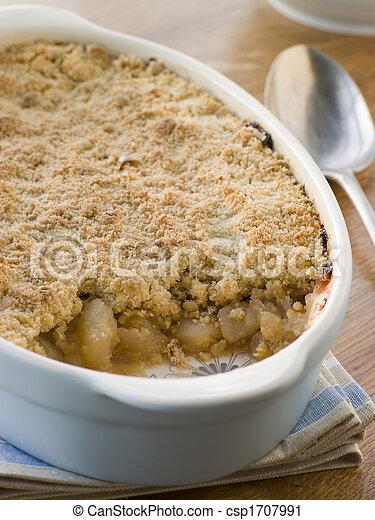 piatto, pietanza, mela, sbriciolare - csp1707991