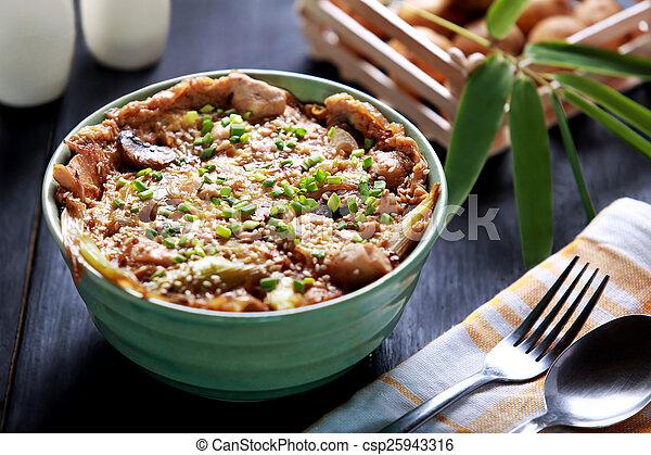 piatto, pietanza, riso, ciotola, giapponese, oyakodon - csp25943316