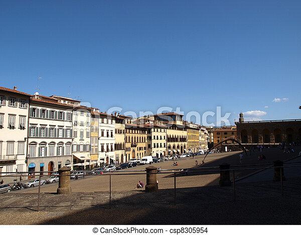 Piazza de Pitti - Florence , Tuscany, Italy - csp8305954