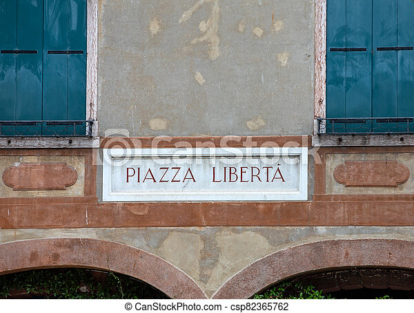 Piazza Liberta ( Liberty Square) in Bassano del Grappa. Italy - csp82365762