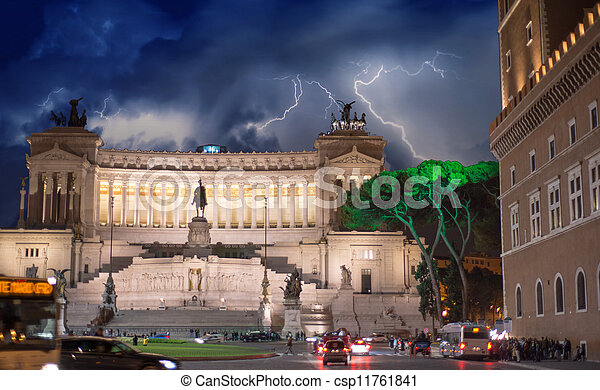 Piazza Venezia at Night in Rome - Italy - csp11761841