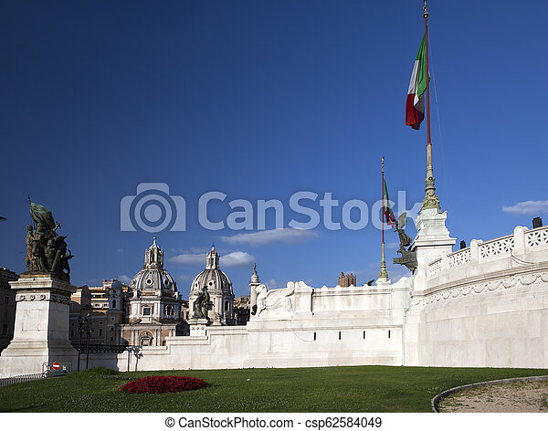 Piazza Venezia in central Rome, Italy - csp62584049