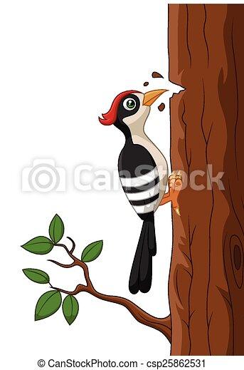 Picchio albero cartone animato vettore albero picchio