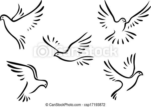 Piccioni set colombe concetto piccioni pace progetto for Concetto aperto di piani coloniali
