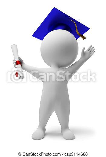 piccolo, 3d, -, diploma, persone - csp3114668