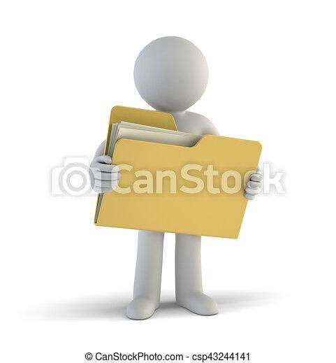 piccolo, file, 3d, -, persone - csp43244141