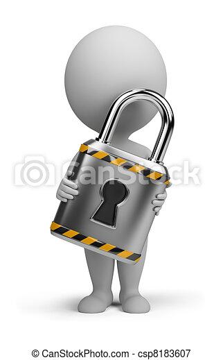 piccolo, serratura, 3d, -, persone - csp8183607