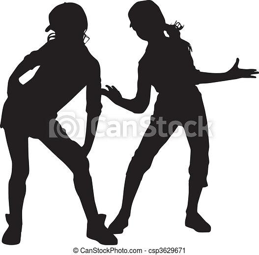 piccolo, silhouette, buoni amici - csp3629671