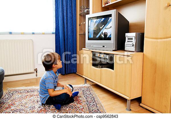 piccolo, televisione, bambini, osservare - csp9562843