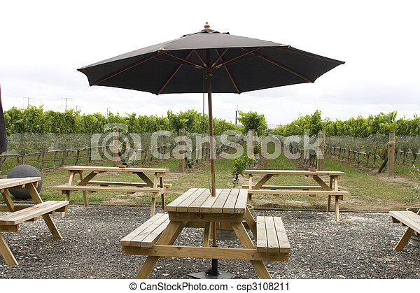 Picinic Tables In Vineyard Picnic Tables With Parasol Standing In - Picnic table parasol