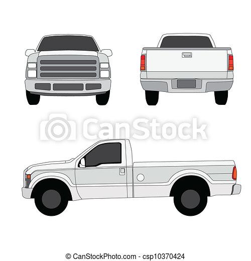 pick-up, trois, illustration, vecteur, camion, côtés, vue - csp10370424