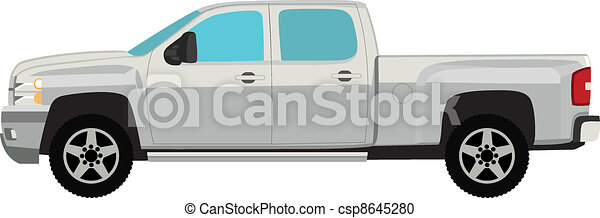 Pick-up truck vector illustration isolated on white - csp8645280