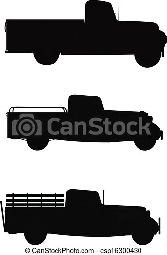 Pick Up Trucks In Silhouette