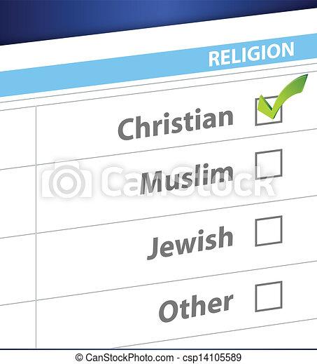 pick your religion blue survey illustration - csp14105589