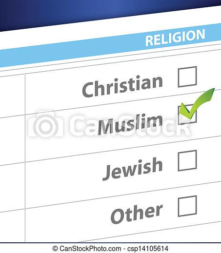 pick your religion blue survey illustration - csp14105614