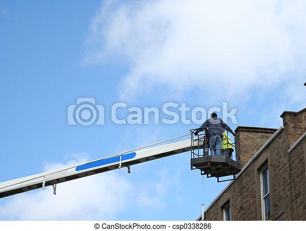 picker, cereja, trabalhadores, inspeccionando, telhado - csp0338286