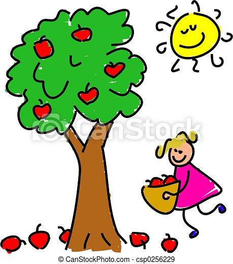 little girl picking apples stock illustration search vector rh canstockphoto com Apple Pie Clip Art Vintage Apple Clip Art